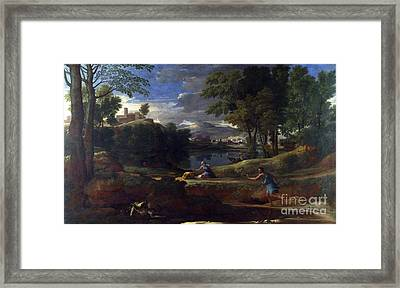 Landscape With A Man Killed By A Snake Framed Print by Celestial Images