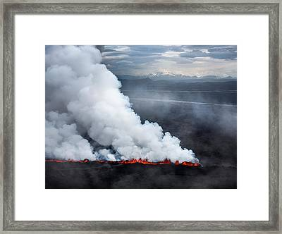Lava And Plumes From The Holuhraun Framed Print by Panoramic Images