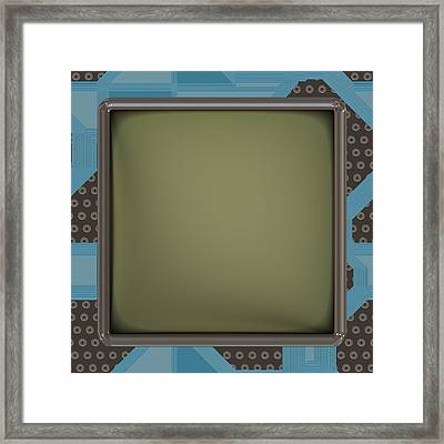Lcd Screen On Circuit Generated Texture Framed Print by Miroslav Nemecek