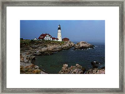 Lighthouse - Portland Head Maine Framed Print by Frank Romeo
