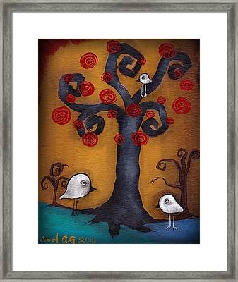 3 Little Birds Framed Print by  Abril Andrade Griffith