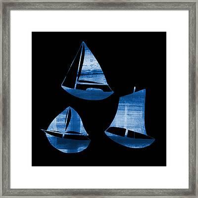 3 Little Blue Sailing Boats Framed Print by Frank Tschakert
