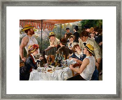 Luncheon Of The Boating Party Framed Print by Auguste Renoir