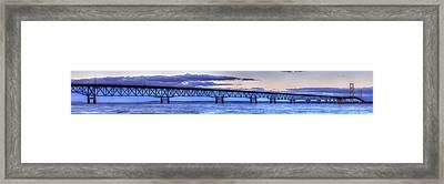 Mackinac Bridge In Evening Framed Print by Twenty Two North Photography