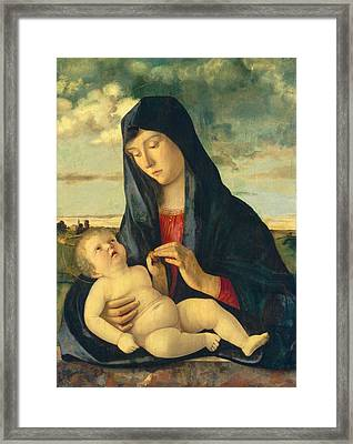 Madonna And Child In A Landscape Framed Print by Giovanni Bellini