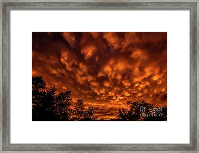 Mammatus Clouds At Sunset Framed Print by Thomas R Fletcher