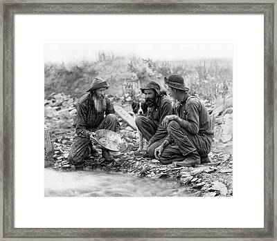 3 Men And A Dog Panning For Gold C. 1889 Framed Print by Daniel Hagerman