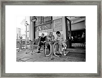3 Men Brussels 2009 Framed Print by Mark Chevalier