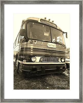 Mid Century Gm Greyhound Bus Framed Print by Scott D Van Osdol
