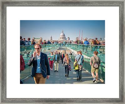 Framed Print featuring the photograph Millennium Bridge by Stewart Marsden