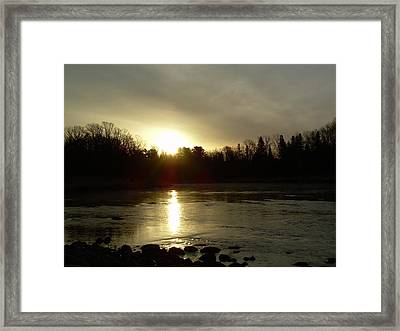Framed Print featuring the photograph Mississippi River Sunrise Reflection by Kent Lorentzen