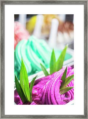 Mixed Colourful Gourmet Ice Cream Sweet Gelato In Shop Display Framed Print by Jacek Malipan