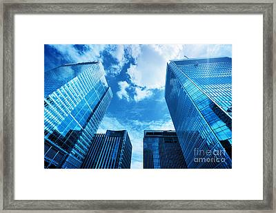 Modern Business Skyscrapers, High-rise Buildings, Architecture Raising To The Sky, Sun Framed Print by Michal Bednarek