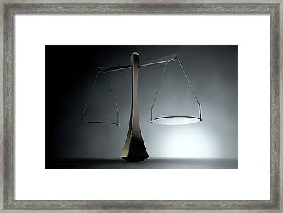 Modern Scales Of Justice Framed Print by Allan Swart