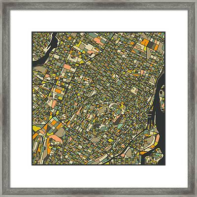Montreal Map Framed Print