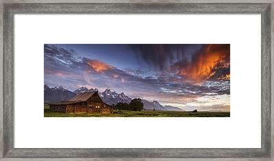 Mountain Barn In The Tetons Framed Print by Andrew Soundarajan