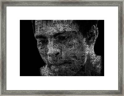 Muhammad Ali Or Cassius Clay Text Portrait - Typographic Face Poster Framed Print by Jose Elias - Sofia Pereira