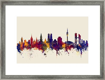 Munich Germany Skyline Framed Print by Michael Tompsett