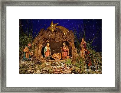 Nativity Scene Framed Print by Gaspar Avila