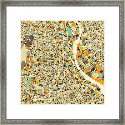 New Delhi Map Framed Print by Jazzberry Blue