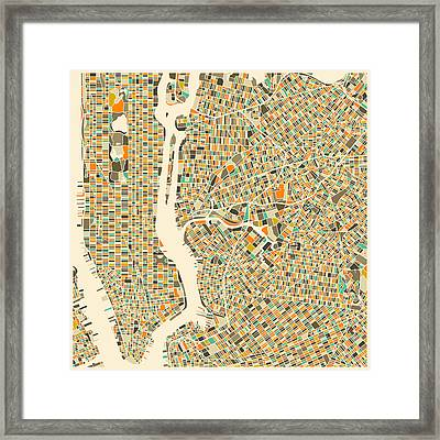 New York Map Framed Print by Jazzberry Blue