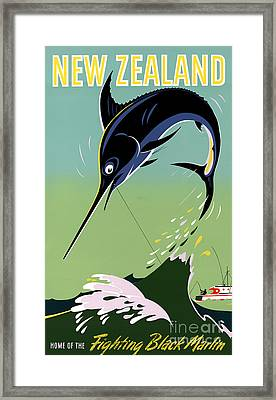 New Zealand Vintage Travel Poster Restored Framed Print