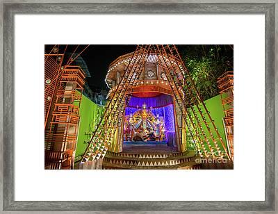 Night Image Of Durga Puja Pandal, Kolkata, West Bengal, India Framed Print by Rudra Narayan Mitra