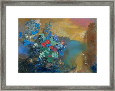 Ophelia Among The Flowers Framed Print by Odilon Redon