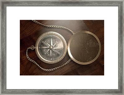 Ornate Pocket Compass Framed Print by Allan Swart