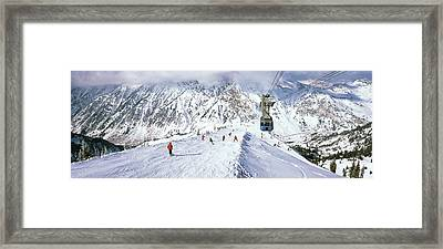 Overhead Cable Car In A Ski Resort Framed Print