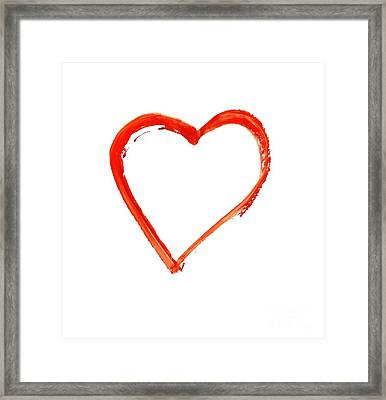 Framed Print featuring the drawing Painted Heart - Symbol Of Love by Michal Boubin