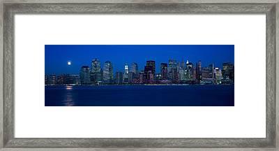 Panoramic View Of Full Moon Rising Framed Print