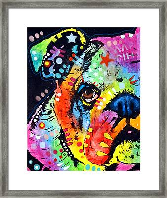 Peeking Bulldog Framed Print by Dean Russo