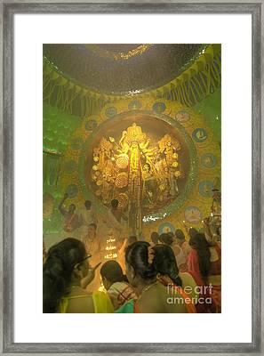 People Enjoying Inside Durga Puja Pandal Durga Puja Festival Framed Print by Rudra Narayan  Mitra