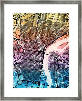 Philadelphia Pennsylvania Street Map Framed Print