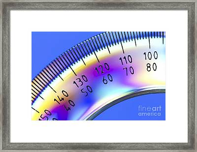 Photoelastic Stress Of A Protractor Framed Print by Pasieka