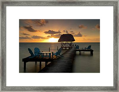 Pier With Palapa On Caribbean Sea Framed Print by Panoramic Images