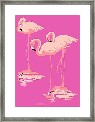 3 Pink Flamingos Abstract Pop Art Nouveau Graphic Art Retro Stylized Florida Framed Print by Walt Curlee