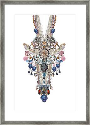Plastron-jewels Necklines Framed Print by Sandrine Kespi