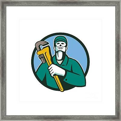 Plumber Holding Wrench Circle Retro Framed Print by Aloysius Patrimonio