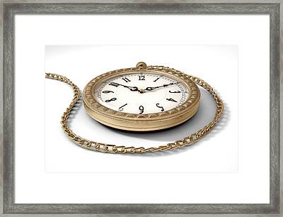 Pocket Watch On Chain Framed Print by Allan Swart