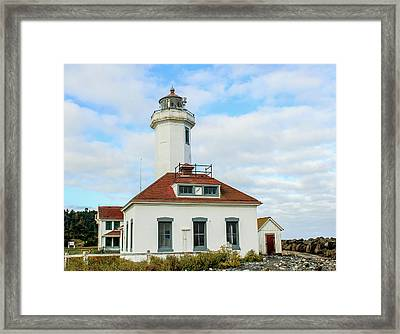Framed Print featuring the photograph Point Wilson Lighthouse by E Faithe Lester
