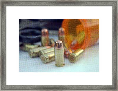 Pop Art Of .45 Cal Bullets Comming Out Of Pill Bottle Framed Print by Michael Ledray