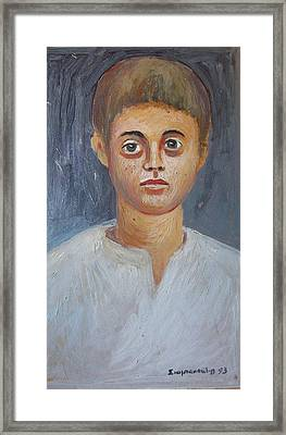 Portrait Of A Boy Framed Print by George Siaba
