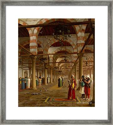 Prayer In The Mosque Framed Print