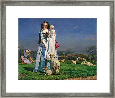 Pretty Baa-lambs Framed Print by Ford Madox Brown
