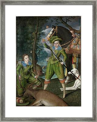 Prince Of Wales With Sir John Harington Framed Print by Henry Frederick
