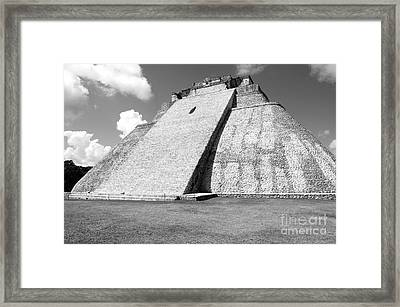Pyramid Of The Magician At Uxmal Mexico Black And White Framed Print by Shawn O'Brien