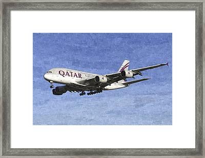 Qatar Airlines Airbus A380 Art Framed Print