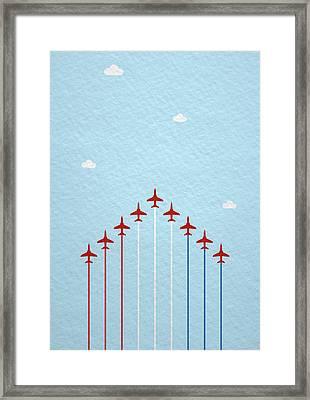 Raf Red Arrows In Formation Framed Print